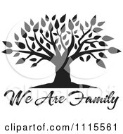 Clipart Black Tree Over We Are Family Text Royalty Free Vector Illustration