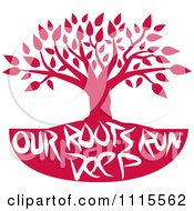 Clipart Red Family Tree With Our Roots Run Deep Text Royalty Free Vector Illustration by Johnny Sajem