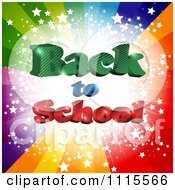 Clipart Colorful Star Burst With 3d Back To School Text Royalty Free Vector Illustration