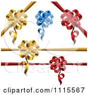 Clipart 3d Gold Blue And Red Gift Ribbons And Bows Royalty Free Vector Illustration