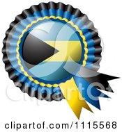 Clipart Shiny Bahamas Flag Rosette Bowknots Medal Award Royalty Free Vector Illustration