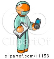 Orange Surgeon Man Holding A Clipboard And Cellular Telephone Clipart Illustration