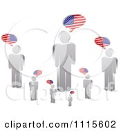 Clipart Talking Silver People With American Flag Speech Balloons Royalty Free Vector Illustration