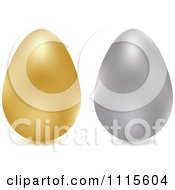 Clipart 3d Gold And Silver Chicken Eggs Royalty Free Vector Illustration