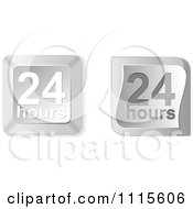 Clipart 3d Silver Twenty Four Hours Buttons Royalty Free Vector Illustration