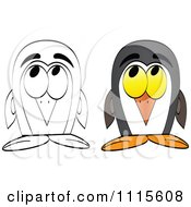 Clipart Outlined And Colored Penguins Royalty Free Vector Illustration
