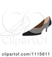 Clipart Outlined And Black Heels Royalty Free Vector Illustration