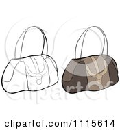 Clipart Outlined And Brown Hand Bag Purses Royalty Free Vector Illustration