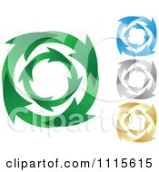 Clipart Green Blue Silver And Gold Recycle Arrow Circles Royalty Free Vector Illustration by Andrei Marincas