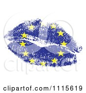 European Flag Kiss On White