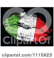 Clipart Italian Flag Kiss Royalty Free Vector Illustration