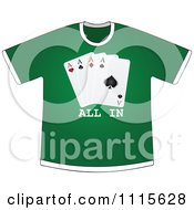 Clipart Green All In Poker Club Shirt Royalty Free Vector Illustration by Andrei Marincas