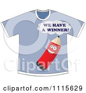 Clipart Blue We Have A Winner Pencil Shirt Royalty Free Vector Illustration by Andrei Marincas