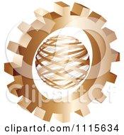 Clipart 3d Bronze Gear Wheel Around A Globe Royalty Free Vector Illustration by Andrei Marincas #COLLC1115634-0167