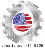 Clipart 3d Silver Gear Wheel Around An American Globe Royalty Free Vector Illustration by Andrei Marincas