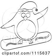 Clipart Outlined Christmas Penguin Snowboarding Royalty Free Vector Illustration