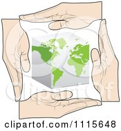 Clipart Hands Bordering A Cube Globe Royalty Free Vector Illustration by Andrei Marincas