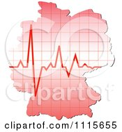 Clipart Germany Map With A Heart Beat Royalty Free Vector Illustration