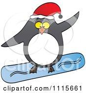 Clipart Christmas Penguin Snowboarding Royalty Free Vector Illustration