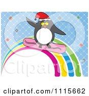 Clipart Christmas Penguin Snowboarding A Rainbow Over Blue Royalty Free Vector Illustration
