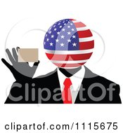 Clipart American Globe Headed Businessman Holding A Card Royalty Free Vector Illustration by Andrei Marincas