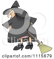 Clipart Halloween Witch With A Broom Stuck In Her Butt Royalty Free Vector Illustration by djart