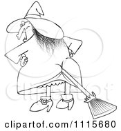 Clipart Outlined Halloween Witch With A Broom Stuck In Her Butt Royalty Free Vector Illustration by djart