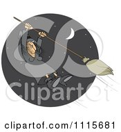 Clipart Halloween Witch Hanging Onto A Flying Broom In A Night Sky Royalty Free Vector Illustration by djart