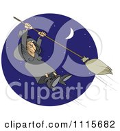 Halloween Witch Hanging Onto A Flying Broom In A Blue Night Sky