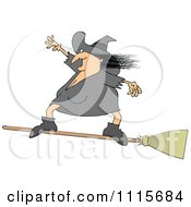 Clipart Halloween Witch Flying And Standing On A Broom Royalty Free Vector Illustration