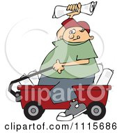 Clipart Paper Boy Sitting In A Wagon And Tossing Newspapers Royalty Free Vector Illustration by djart