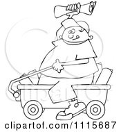 Clipart Outlined Paper Boy Sitting In A Wagon And Tossing Newspapers Royalty Free Vector Illustration