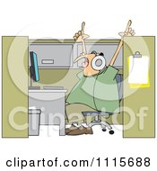 Clipart Man Singing And Listening To Music In His Office Cubicle Royalty Free Vector Illustration