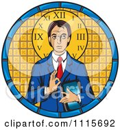Clipart Jesus Christ Pantocrator Businsesman Over Golden Tiles In A Circle Royalty Free Vector Illustration by David Rey