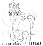 Clipart Outlined Cute Unicorn Royalty Free Vector Illustration