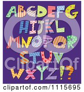 Clipart Colorful Patterned Capital Letters On Purple Royalty Free Vector Illustration