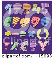 Clipart Colorful Patterned Numbers And Math Symbols On Purple Royalty Free Vector Illustration