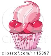 Clipart Pink Doodled Cupcake With Cherries Royalty Free Vector Illustration