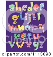 Clipart Colorful Patterned Lowercase Letters On Purple Royalty Free Vector Illustration