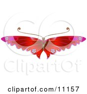 Gorgeous Red Butterfly With Flower Decoration On The Wings