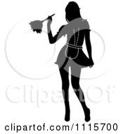 Clipart Sexy Silhouetted Dusting French Maid Wearing Garters Royalty Free Vector Illustration by Pams Clipart