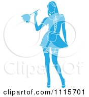 Clipart Sexy Blue Silhouetted Dusting French Maid Wearing Garters With A White Outline Royalty Free Vector Illustration by Pams Clipart
