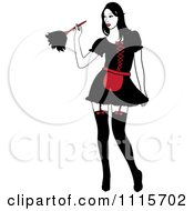 Clipart Sexy Dusting French Maid Wearing Garters And A Red And Black Uniform Royalty Free Vector Illustration by Pams Clipart