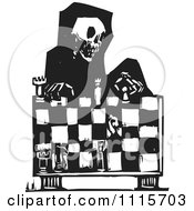 Skeleton Of Death Playing Chess Black And White Woodcut