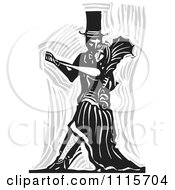 Clipart Gothic Couple Dancing Black And White Woodcut 2 Royalty Free Vector Illustration by xunantunich