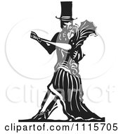 Gothic Couple Dancing Black And White Woodcut 1