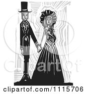 Clipart Gothic Wedding Couple Holding Hands Black And White Woodcut 2 Royalty Free Vector Illustration by xunantunich