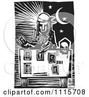 Clipart Tarot Card Reader And Sun And Moon Black And White Woodcut Royalty Free Vector Illustration