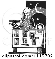 Clipart Tarot Card Reader Black And White Woodcut Royalty Free Vector Illustration by xunantunich