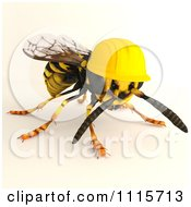 3d Worker Wasp Bee Wearing A Hard Hat